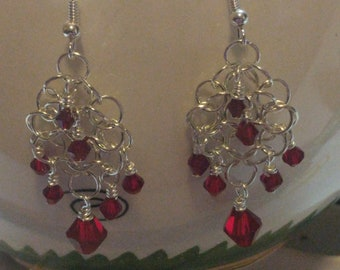 Red bicone chainmail earrings