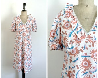 Vintage 1980s White Print Summer Midi Day Slip Dress / Size Medium