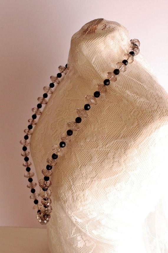 Handmade Statement Necklace, Handmade Black n White Necklace, Crystal Statement Necklace