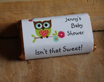 Owl Look Whoo's Having a Baby Shower Mini Candy Bar Wrappers for Baby Shower or 1st 2nd 3rd Birthday Party Favors