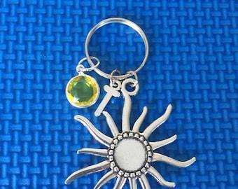 Sun Initial Key chain, sun key chain, initial key chain, CP85