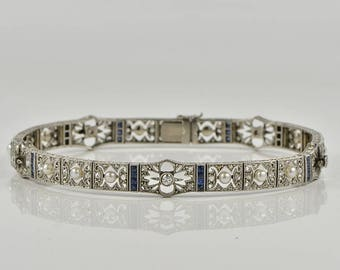 Divine Edwardian natural pearl sapphire and diamond rare lace work barcelet