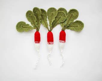 Pretend play radijs - set van spelen voedsel fruit Waldorf speelgoed - gebreide groenten speelgoed keuken - groene kind veilig cadeau baby - voorjaar foto prop