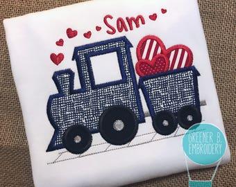 Boy Valentine Shirt / Valentine Train Shirt / Valentine Applique / Baby Valentine Outfit / Train with Hearts / Toddler Valentine Shirt