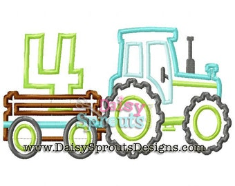 Tractor Pulling Number 4 - Machine Applique - Instant Download