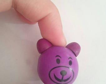 Purple wood 3D bear head
