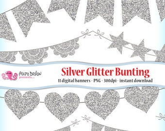 Silver Glitter Bunting Banner Clipart. Silver glitter banner, silver glitter clipart, christmas clipart, christmas bunting, white glitter.