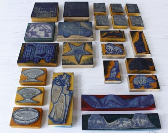 LOT of French Vintage Educational Rubber Stamps...Assorted lot but not boxed....see listing for details