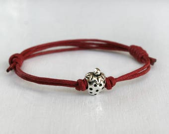 Strawberry Bracelet, Strawberry Anklet, (many colors to choose)