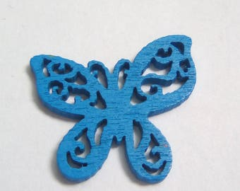 Connector wood Butterfly filigree blue 25x22mm