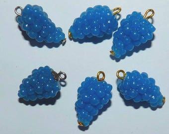 6 charms pendant blue grape vintage jewelry