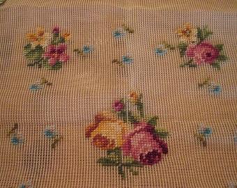 Vintage 1950s Bucilla Wonder Weave Antique Canvas Roses & Forget Me Nots 20 x 20 Preworked Design Complete # 2942073