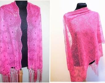 Vintage Shawl Sequin Lace Pink Sheer Long Fringe Evening Wear Large Scarf Shoulder Wrap Formal Special Occasion Women's Clothing
