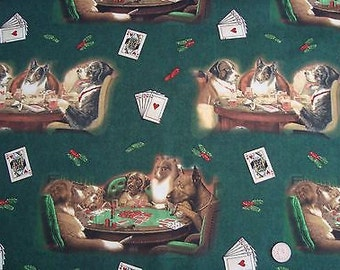 Poker Playing Dogs Fabric Very Rare & Hard to find Perfect Curtains Quilt Pillows Home Decor By The Half Yard