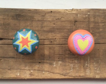Set of 4,Hand painted wooden knobs.