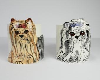 Vintage set de 2 Mugs chiens par Nina Design Nina Lyman Kitsch