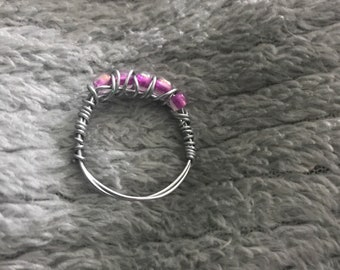 Pink Wire Weapped Ring