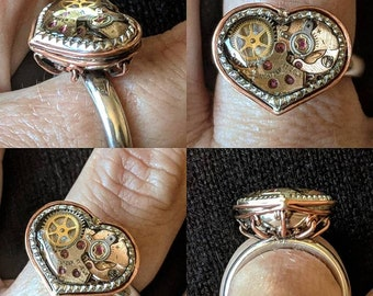 Steampunk Heart Pump Ring