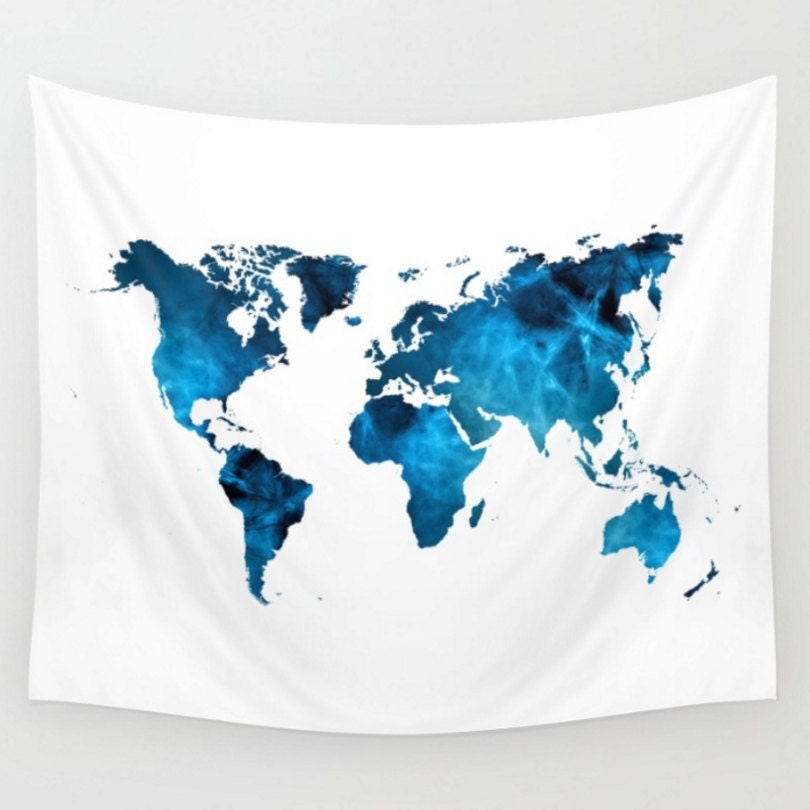 Wall hanging world map tapestry map tapestry blue and white zoom gumiabroncs Image collections