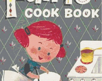 Vintage 1960's Fun to Cook Book PDF Counted Cross-Stitch Pattern