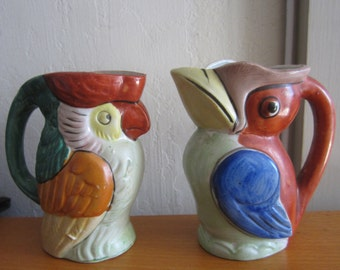 Vintage Pair of Ceramic Bird Parrot Pitcher Painted Made in Japan