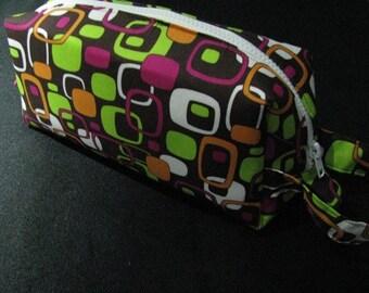 Retro Squares Pencil Bag Craft Bag Cosmetic Bag Makeup Bag Shaving Kit LARGE