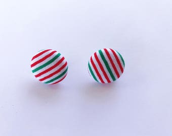 Christmas Red White Green Fabric Button Earrings