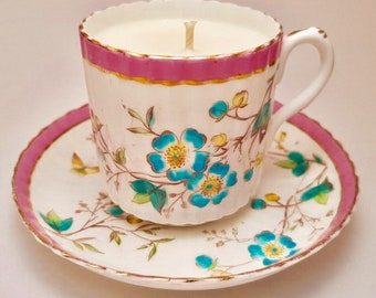 Vintage teacup candle  (teacup and saucer), fragranced in French Pear - hand painted - pretty florals, butterfly & pink - maker unknown