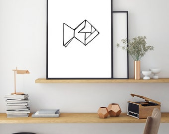 Fish Print, Geometric Poster, Digital Print, Minimal Animal Art, Modern Wall Poster, Abstract Art, Home Decor, Black And White Print