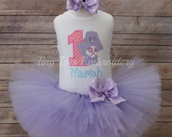 Share Bear Tutu Outfit ~ Share Bear Birthday Outfit ~ Includes Top, Tutu & Hair Bow ~ Can Customize In Any Color Of Your Choice!