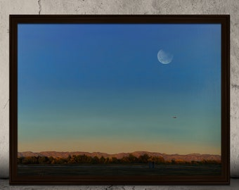 Original Acrylic Canvas Painting Titled Sunday Afternoon Traditions, Night Canvas Painting, Moonlight