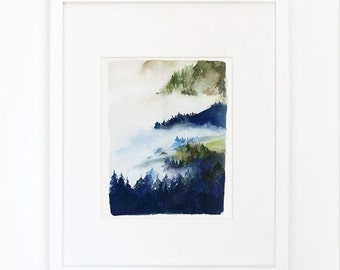 Forest in Indigo and Green- Watercolor Archival Print