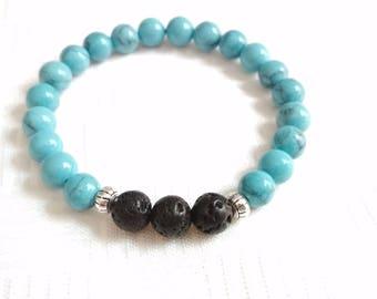 Turquoise Lava Bracelet, Jasper Bracelet, Gemstone Bracelet, Stone Bracelet, Elastic Beaded Bracelet