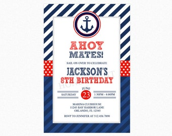 Nautical Birthday Invitation, Nautical Birthday Party Invite, Red, Blue, Personalized, Printable or Printed Invitations