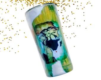 Africa Tumbler - Giraffe Print - Travel Coffee Mug - Tumbler - Green Tumbler Gift - Coffee Tumbler - Animal Print - Black Women