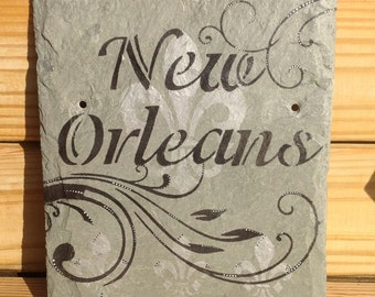 New Orleans Slate sign Recycled Roofing Slate
