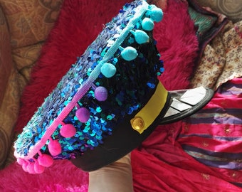 Festival military hat with pompoms