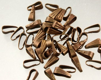 100 pcs of Antique Copper Finished Pendant Pinch Bail 9x3.5mm