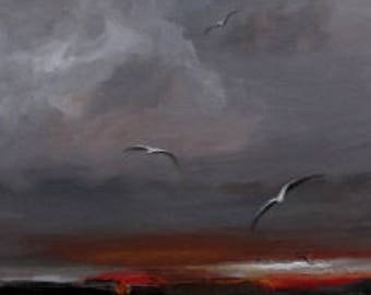 "Original Seascape Painting by CES - Seagulls Wall Art Minimalist Landscape Clouds Painting Red Abstract Art Red Landscape Wall ART 10"" x 30"""