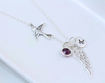 Angel Wing Necklace, Sterling silver wing Initial / Birthstone. Lost loved one gift, going away gift. Divorce gift, Silver Angel Wing charm