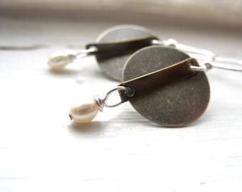 Pearl Earrings, White Pearl Metalwork Dangle Drop Earrings, handmade Earrings, Pearl Jewelry, White Pearl Earrings, Metalwork Earrings