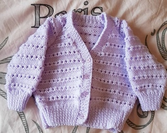 Lilac handknitted baby cardigan. Size 3-6 months