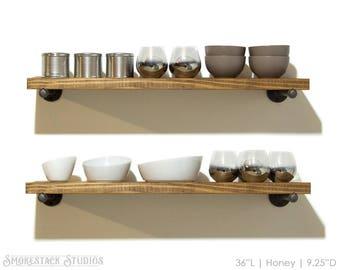 "Industrial Shelves (Set of 2) Open Floating Kitchen Shelves, 10"" Depth w/ Pipe Brackets, Industrial Shelving, Kitchen Shelf, Open Shelving"