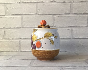 Vintage Italian Ceramic Preserve Pot with Lid Hand Painted
