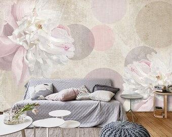 Flowers Wall mural, Wallpaper, Wall décor, Wall decal, Nursery and room décor, Wall art