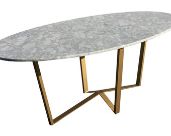 Oval White Marble Dining Table