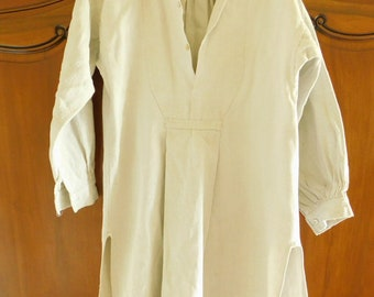 French Linen Nightshirt 19th Century Rustic Smock, Artists Overall, Clothing for Re-purpose, Farmhouse Chic, French Country Style