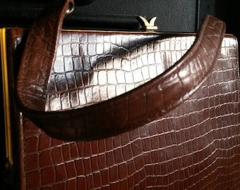 1950's Mock Croc Leather Handbag