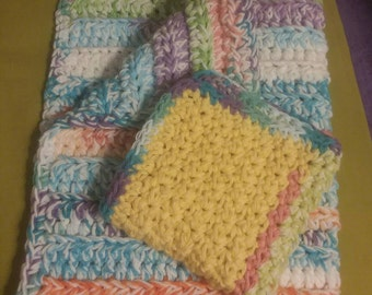 Plush face towel, hand towel, towel washcloth set, handmade, hand-crocheted, cotton,