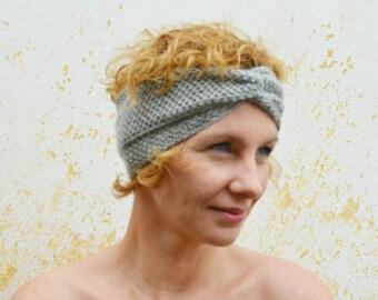 Light grey turban, knitted headband, silver color bandana, ear warmer, winter accessory